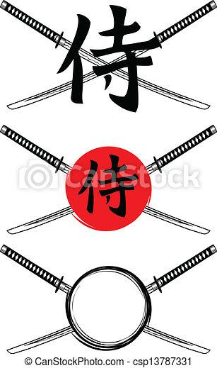 hieroglyph samurai and crossed samurai swords - csp13787331