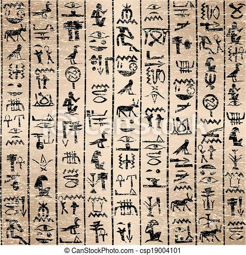 hieroglyphics, グランジ, 背景, エジプト人 - csp19004101
