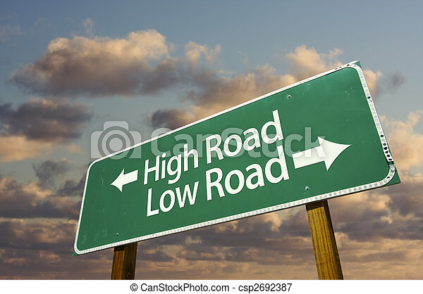 High and Low Road Green Road Sign - csp2692387