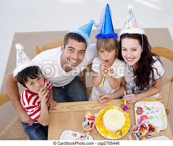 High angle of happy family celebrating a birthday - csp2705446