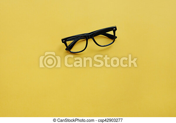 High angle view of eyeglasses on the table - csp42903277
