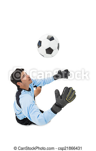High angle view of goal keeper in action - csp21866431