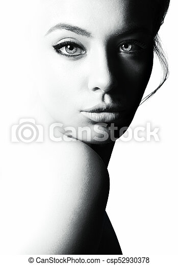 High contrast black and white portrait of a beautiful girl femininity and beauty free space for your text