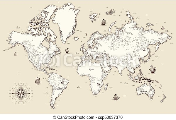 High detailed old world map with decorative elements vectors high detailed old world map with decorative elements csp50037370 gumiabroncs Images