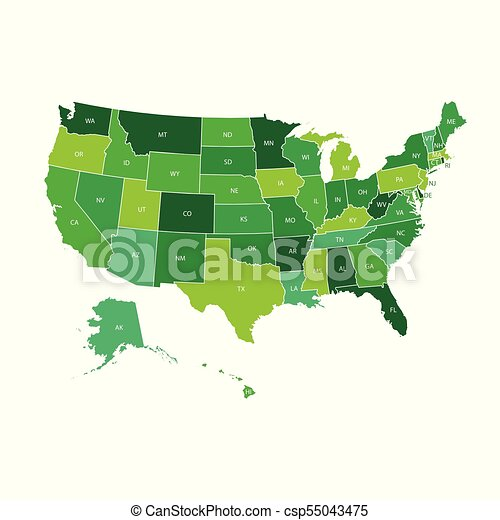 High detailed usa map with federal states. vector illustration united on
