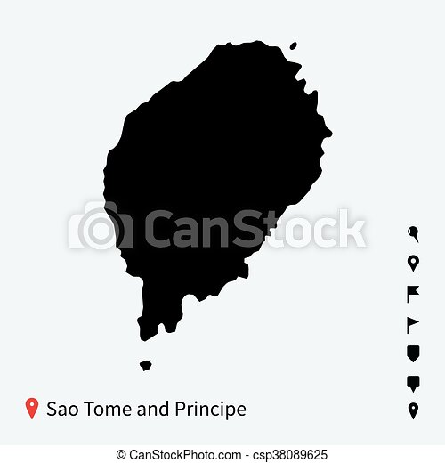 High detailed vector map of Sao Tome and Principe with pins. - csp38089625