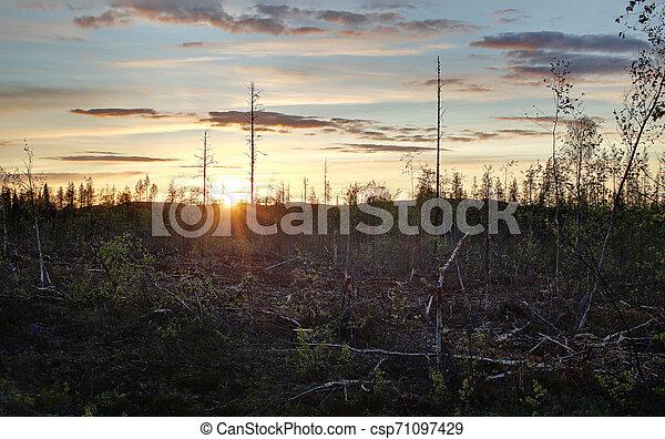 High dynamic range image of sunset in Sweden - csp71097429