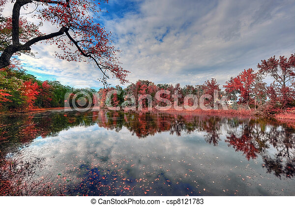 High Dynamic Range Landscape of a Maryland pond in Autumn - csp8121783