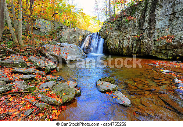 High Dynamic Range photo of Kilgore Falls in Maryland in Autumn - csp4755259
