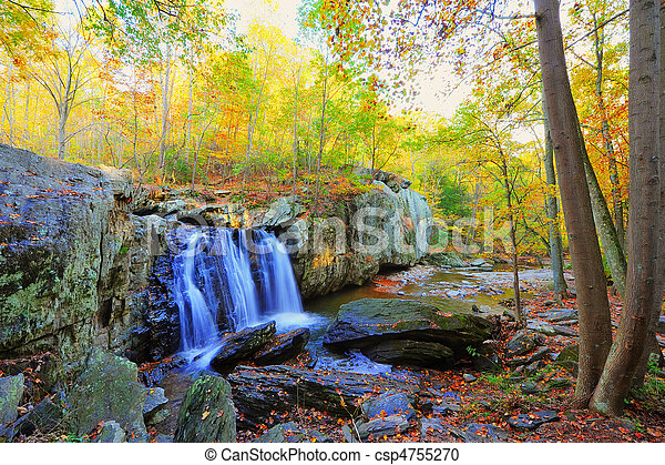 High Dynamic Range photo of Kilgore Falls in Maryland in Autumn - csp4755270