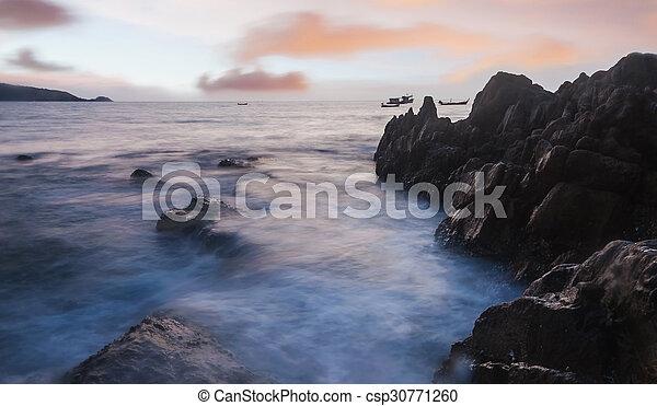 High dynamic range technique of seascape in twilight - csp30771260