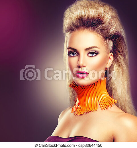 High fashion model girl with mohawk hairstyle and vivid make up - csp32644450