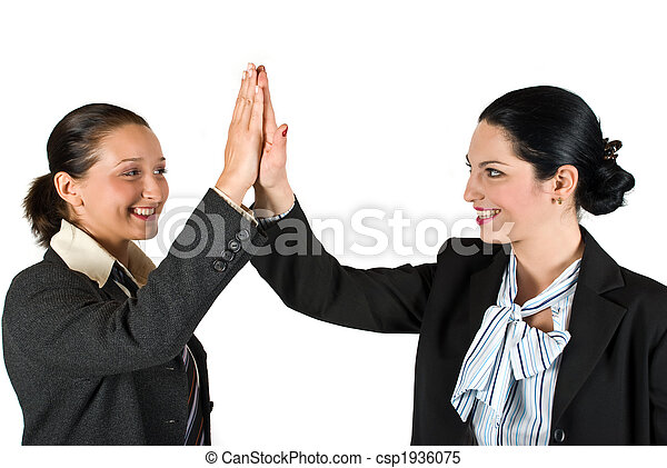 High five business woman - csp1936075