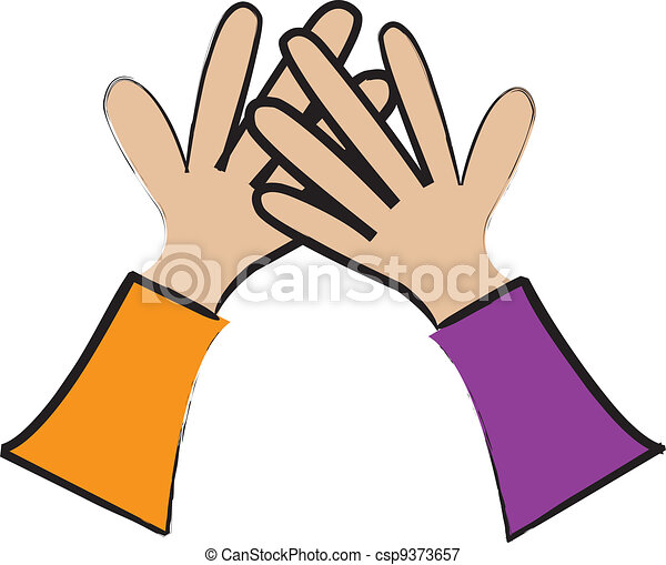 simple cartoon drawing of two hands giving a high five vectors rh canstockphoto com high five clipart black and white high five hand clipart