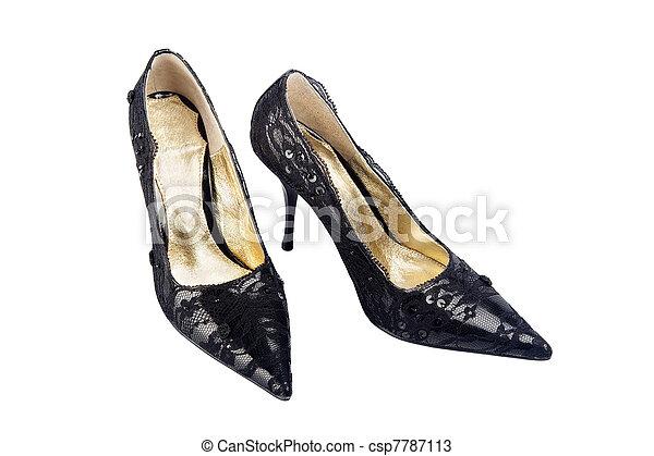 High heels. Elegant expensive black