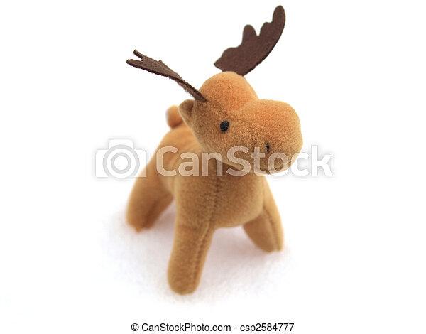 High key picture of Christmas moose deer in snow - csp2584777