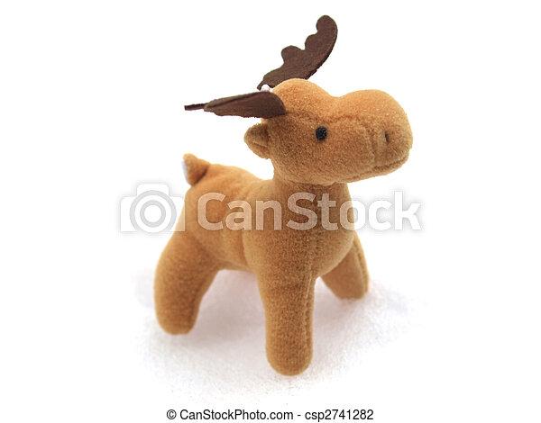 High key picture of Christmas moose deer in snow - csp2741282