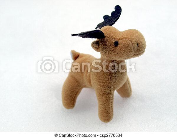 High key picture of Christmas moose deer in snow - csp2778534
