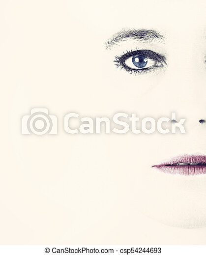 High key portrait of a woman with empty expression on her face - csp54244693