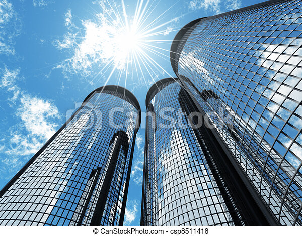 High modern skyscrapers on a background of the blue sky and in solar patches of light - csp8511418