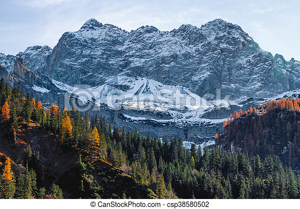 High mountains covered with snow in late autumn season. Alps, Austria, Tyrol. - csp38580502