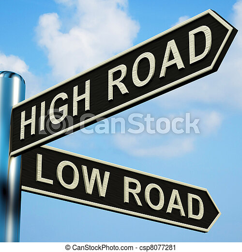 High Or Low Road Directions On A Signpost - csp8077281