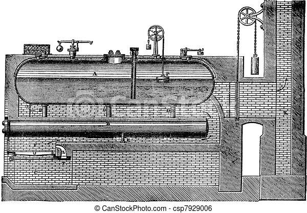 High pressure steam generator, vintage engraving. - csp7929006