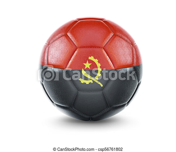 High qualitiy soccer ball with the flag of Angola rendering.(series) - csp56761802
