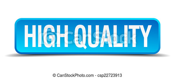 high quality blue 3d realistic square isolated button - csp22723913