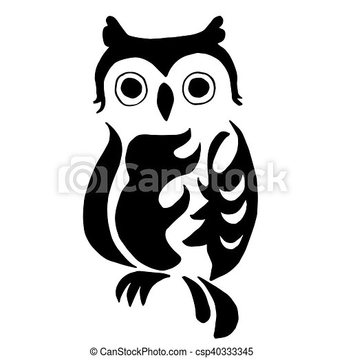 High quality owl for coloring or tattoo isolated on white background.
