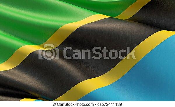 High resolution close-up flag of Tanzania. 3D illustration. - csp72441139