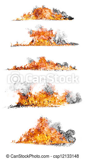 High resolution fire collection isolated on white background - csp12133148