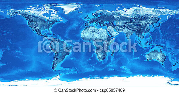 High resolution world map in blue