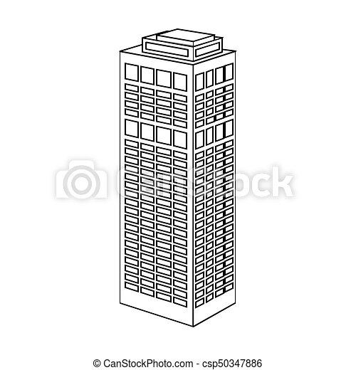 High Rise Building Of A Skyscraper Single Icon In Outline Style Vector Symbol Stock