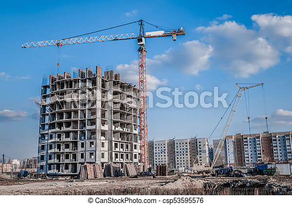 High-rise crane and construction industry - csp53595576