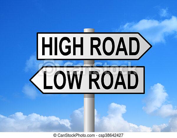 High Road Low Road Signpost - csp38642427