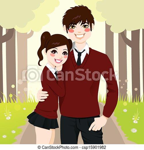High School Couple Hugging - csp15901982