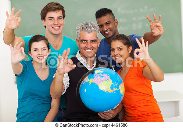 high school students and teacher giving okay sign - csp14461586