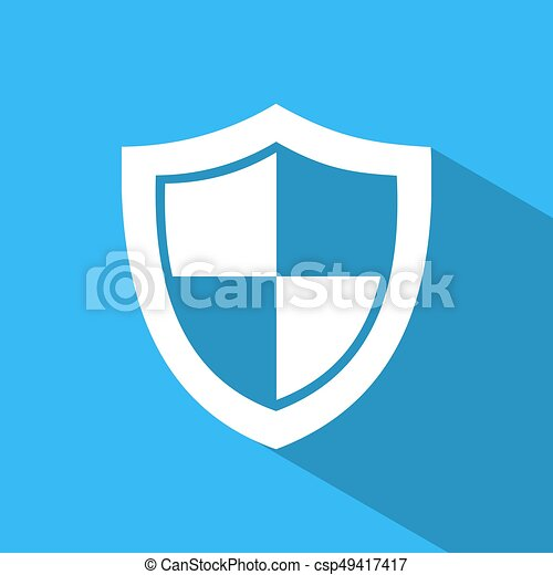 High security shield icon with shade on a blue background - csp49417417