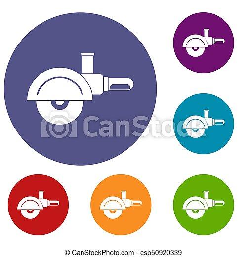 High speed cut off machine icons set - csp50920339