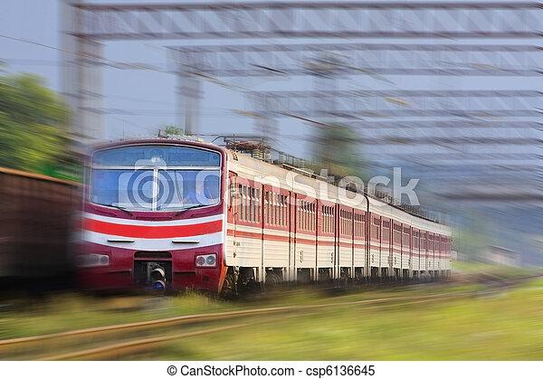 High speed passenger train on the way - csp6136645