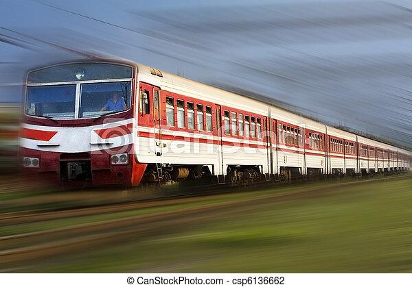 High speed passenger train on the way - csp6136662