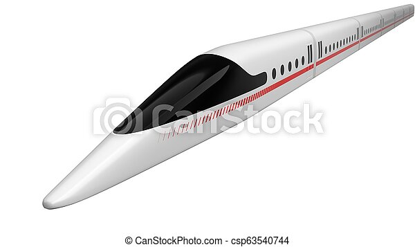 high speed train. concept design for magnetic levitation and vacuum tunnel technology. 3d illustration - csp63540744