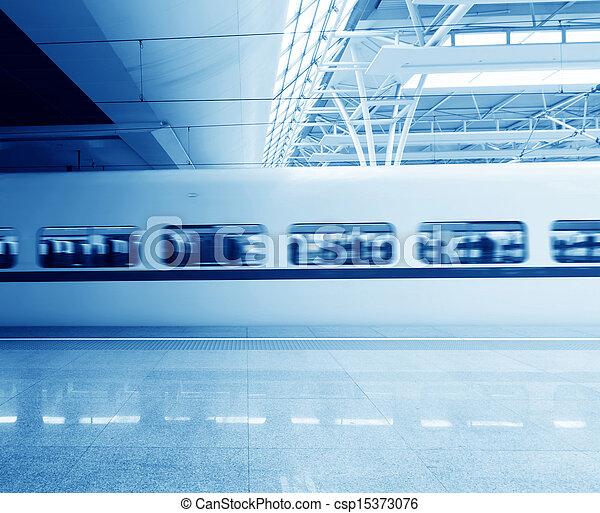 High-speed train station, then the train a few close-ups - csp15373076
