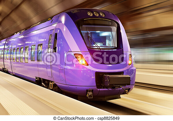 High speed train with motion blur - csp8825849