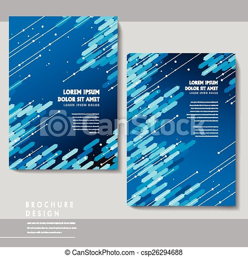 high tech brochure template design with blue geometric elements