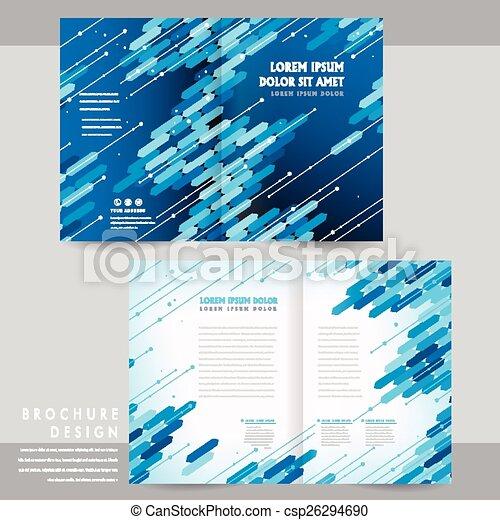 High Tech Half Fold Brochure Template Design With Blue Geometric
