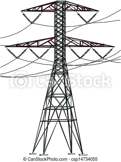 Power Lines And Pylons Vector Silhouette Of Power Lines And