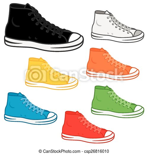 generic high top sneakers in a variety of basic colours vector clip rh canstockphoto com Shoe Vector Front View Horse Shoe Vector