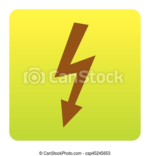 High voltage danger sign. Vector. Brown icon at green-yellow gradient square with rounded corners on white background. Isolated. - csp45245653
